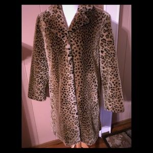 Worthington Faux Fur Leopard Coat Like New